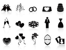 Black wedding icons set Royalty Free Stock Image