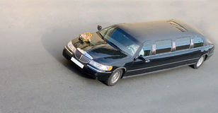 Black wedding limo car of. Black wedding decorated limousine car isolated on white Royalty Free Stock Photography