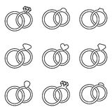 Black wedding rings icons collection vector illustration
