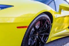 Black Wheel on Yellow Car Royalty Free Stock Photo