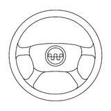 Black wheel with yellow emblem of taxi. The element to control the taxi car.Taxi station single icon in outline style Stock Images