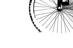 Black wheel in snow Stock Photo