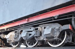 Black wheels of steam railcar Royalty Free Stock Photos