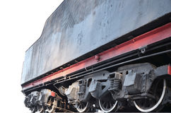Black wheels of steam railcar Royalty Free Stock Image