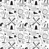 Black and whete vector seamless pattern farm. Black and whete vector seamless pattern cute farm elements in doodle style Stock Photography