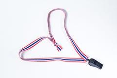 Black whistles with Thailand national flag lanyard Royalty Free Stock Image