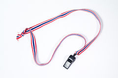 Black whistles with Thailand national flag lanyard Royalty Free Stock Photography