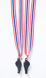 Black whistles with Thailand national flag lanyard Stock Images