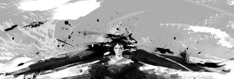 Black and whit digital detailed abstract illustration of a woman with black wings Stock Photos