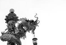 Black&White在寺庙的龙雕象在泰国 图库摄影