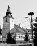 Black&White 人体的,特兰西瓦尼亚被加强的中世纪撒克逊人的教会 免版税库存图片