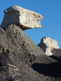 Black and White. Geologic rock deposits in the badlands of New Mexico stock photo