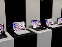 Black and white. Computer graphics, on the topic, computer technology and the Internet. Electronics store Stock Image