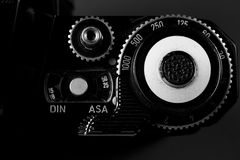 Black and White. Film Camera dials in black and white Stock Photography