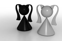 Black and white. 3d model black and white womans Stock Photography