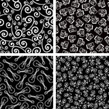Black and white. Set of black and white seamless background patterns, guitar, bicycle, camera, curls,  illustration Vector Illustration