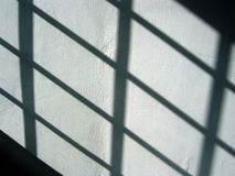 Black and white. Background shadow pattern on wall by the morning sun Stock Photos