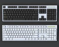 Black and white 3D keyboards. Black and white 3D qwerty keyboards on dark grey background Stock Image