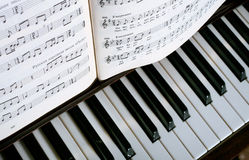 Black and white. Music book on the piano keys Royalty Free Stock Photography