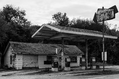 Black and white abandoned gas station. Share across this abandoned gas station in Oklahoma Stock Images