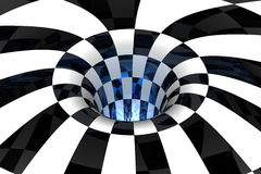 Black & white abstract. Black & white tunnel with blue glow royalty free illustration