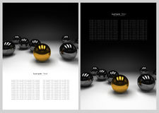 Black and white abstract background. With gold and black metal ball royalty free illustration