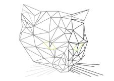 Low polygons 3D cat head illustration. Digital trendy vector illustration of cat portait. Flat design vector cat head illustration. Black and white abstract vector illustration