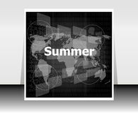 Black and white abstract digital touch screen with summer word, abstract background Stock Photos