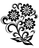 Black and white abstract flower with leaves and swirls isolated on white Royalty Free Stock Images