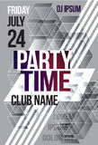Black and white abstract flyer or brochure template graphic design. Poster for a night club event. party time cover Royalty Free Stock Image
