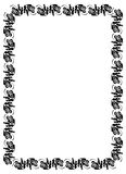 Black and white abstract  frame with flowers silhouettes. Royalty Free Stock Image