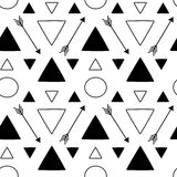 Black white abstract geometric seamless pattern background with arrows triangles and circles Stock Photo