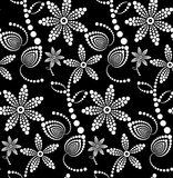 Black and White Abstract Halftone Flower Background. Stock Photo