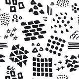 Black and white abstract hand drawn different shapes brush strokes and textures seamless pattern. Swatch vector illustration