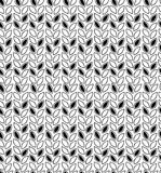 Black and white abstract pattern. Contour seamless background with rows of leaves Royalty Free Stock Images