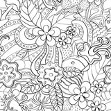 Black and white abstract psychedelic seamless pattern. Abstract psychedelic seamless pattern. Black and white summer floral background stock illustration