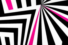 Black and white abstract regular geometric fabric texture background. With pink line Royalty Free Stock Photography