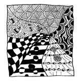 Black and white abstract. Black and white abstract, relax and meditation zentangle art, monochrome vector illustration Royalty Free Stock Photography