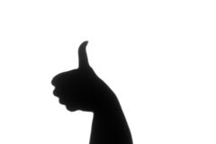 Black and White Abstract Shadow - Thumbs Up Royalty Free Stock Images
