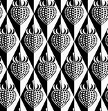 Black and white abstract strawberry on diamonds Royalty Free Stock Images