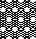Black and white abstract textured geometric seamless pattern.. Symmetric monochrome vector textile backdrop. Splicing lines Stock Photos
