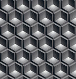 Black and white abstract textured geometric seamless pattern. Ve. Ctor contrast textile backdrop with three-dimensional cubes and squares. Graphic contemporary Royalty Free Stock Images
