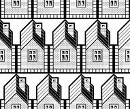Black and white abstract vector houses and cottages continuous Royalty Free Stock Photos