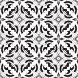 Black and white abstract vector seamless pattern. Monochrome dot. Ted greek key meander background. Vintage arabesque flowers, shapes, lines, circles, polka dots vector illustration