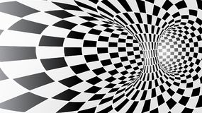 Black and white abstract vector tunnel. Optical illusion Stock Photo