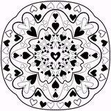 Black and white abstract Zentangle heart mandala Stock Images