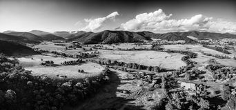 Black and white aerial landscape of Australian countryside at su Royalty Free Stock Images