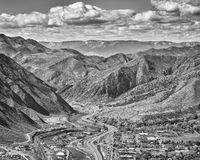 Black and white aerial picture of Glenwood Springs in Colorado. Stock Photography