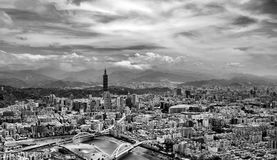 Black and White Aerial View of City Royalty Free Stock Image