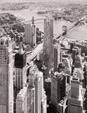 Black and white aerial view of downtown New York City Royalty Free Stock Photography